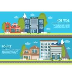 Colorful Flat Building Banner Set vector image vector image