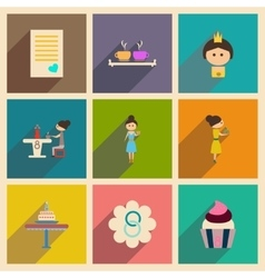 Concept of flat icons with long shadow women s Day vector