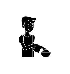 cooking breakfast black icon sign on vector image