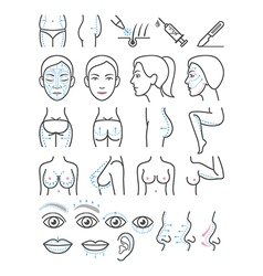 Cosmetic plastic surgery icons vector