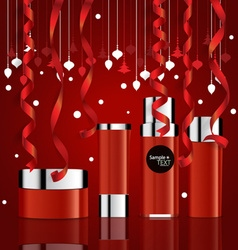 Cosmetics packaging Holiday Gift with Christmas vector image