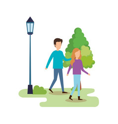 couple walking in the park characters vector image