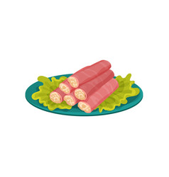 crab sticks stuffed with melted cheese delicious vector image