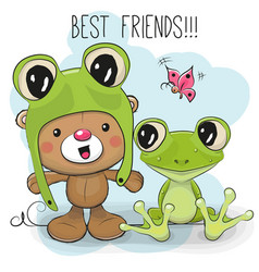 cute bear and frog vector image
