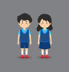 Cute character wearing school uniform vector