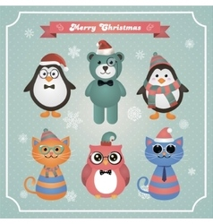 Cute Christmas Fashion Hipster Animals and Pets vector
