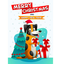 Cute dog with merry christmas and happy new year vector
