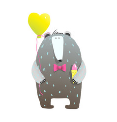 cute teddy bear and heart balloon vector image