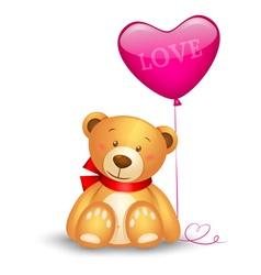 Cute teddy bear with in heart shape balloons vector