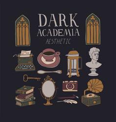 Dark academia aesthetic concept vector