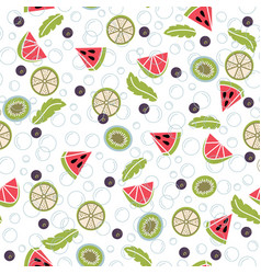 detox water of fresh fruit seamless pattern vector image