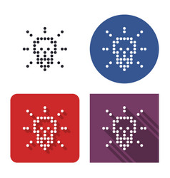 dotted icon lamp radiating light in four vector image