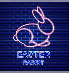 Easter card with neon rabbit spring vector
