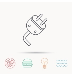 Electric plug icon Electricity power sign vector image
