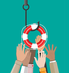 fishing hook with lifebuoy vector image