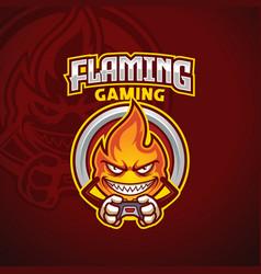 Flame mascot gamer esport logo template vector