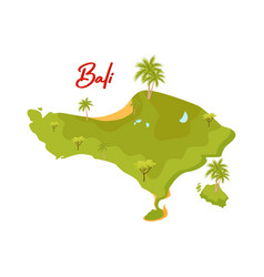 Flat design of bali map green island with vector