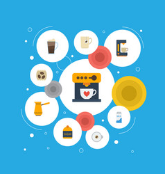 Flat icons ibrik coffeemaker latte and other vector