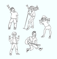 flat rock music teen people set vector image