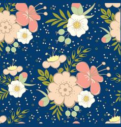 Floral seamless pattern on dark blue background vector