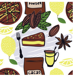 Food cacao cake with lemon seamless pattern vector