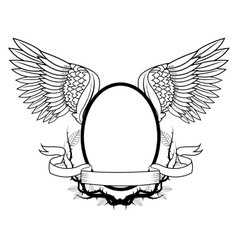 Frame with wings tattoo art design vector