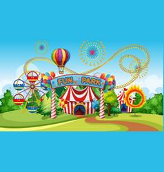 fun park with ferris wheel vector image