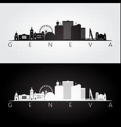 Geneva skyline and landmarks silhouette vector