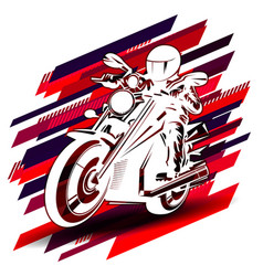 Graphic drawing white silhouette racer on vector