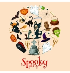 Halloween holiday cartoon horror in round sticker vector