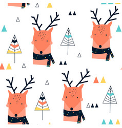 hand drawing deer and forest vector image