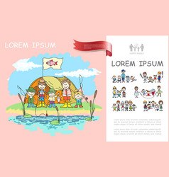 hand drawn family camping template vector image