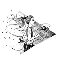 hand drawn running woman girl and birds run vector image