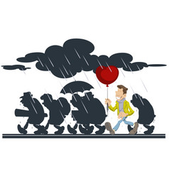 happy man with a balloon people going in rain vector image