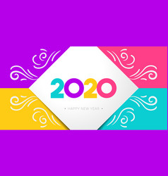 Happy new year 2020 greeting card vector