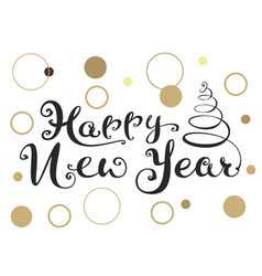 happy new year ornate handwriting calligraphy text vector image