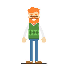 happy redheaded bearded hipster character vector image
