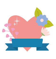 heart love with flower and ribbon pop art style vector image