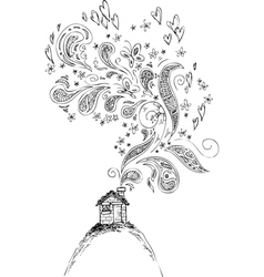 House with doodle smoke vector image