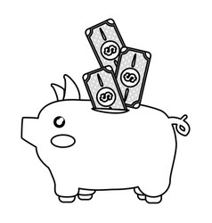 Line cute pig to save cash money vector