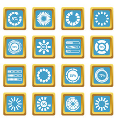 Loading bars and preloaders icons azure vector