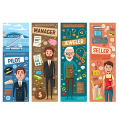 manager seller pilot and jeweller professions vector image
