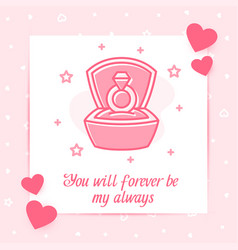 Marriage ring box valentine card love text icon vector