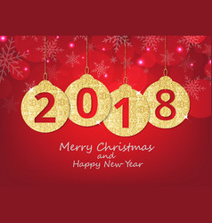 merry christmas and happy new year hanging 2018 vector image