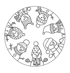 Merry christmas snowmen coloring page vector
