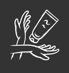 Moisturizing hand cream sunblock chalk icon vector