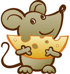 Mouse with cheese vector