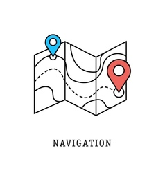 navigation and geolocation thin flat lines vector image