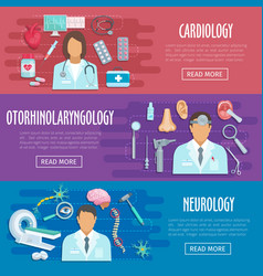 Neurology cardiology doctor medical banners vector