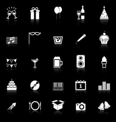 New year icons with reflect on black background vector
